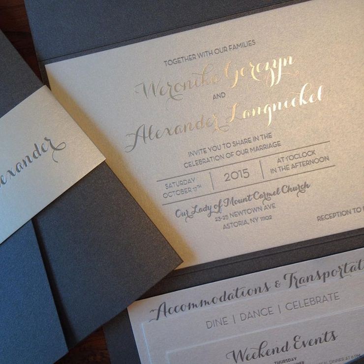 Custom grey and silver foil invitation