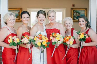 Red bridesmaids