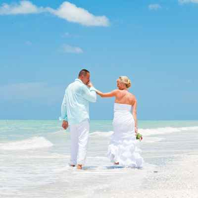 Marine summer white long wedding dresses