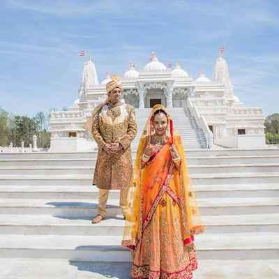 Ethnical brown long wedding dresses