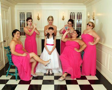 Pink bridesmaids