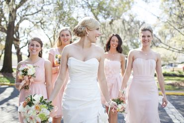 Pink open wedding dresses