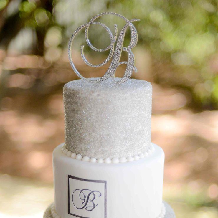Silver Monogram Cake