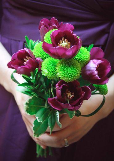 Green tulip wedding bouquet