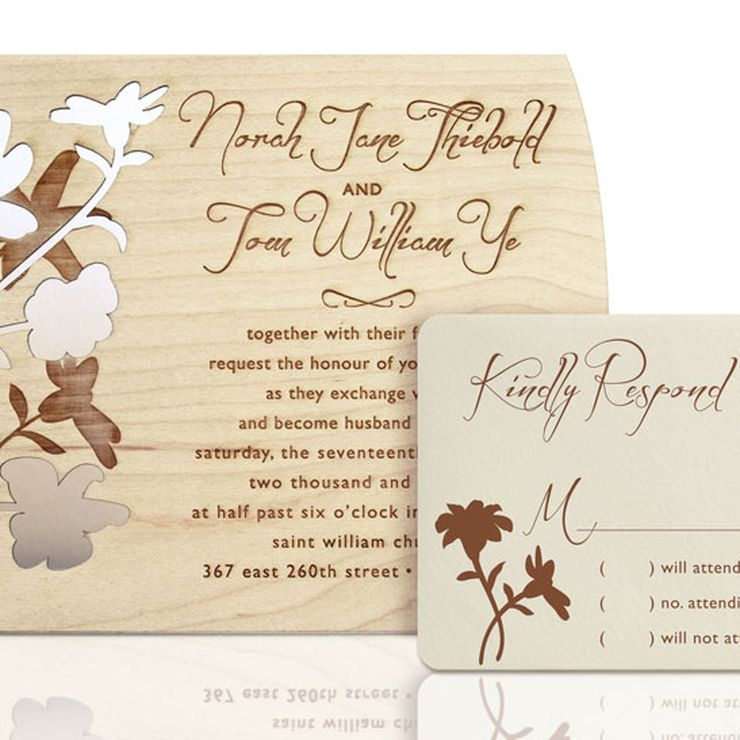 Laser Cut Wood Invitations