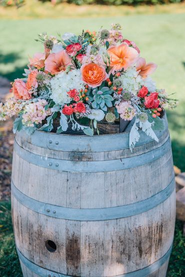 Outdoor wedding reception decor
