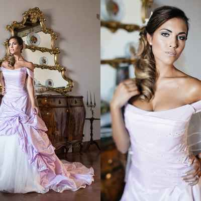 Purple long wedding dresses