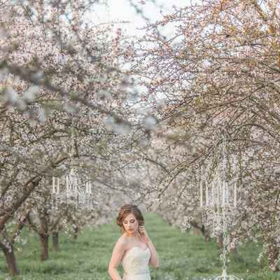 Outdoor spring ivory long wedding dresses