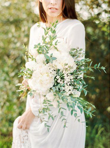 Outdoor white peony wedding bouquet