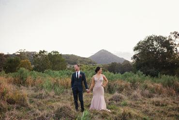 Outdoor autumn pink long wedding dresses