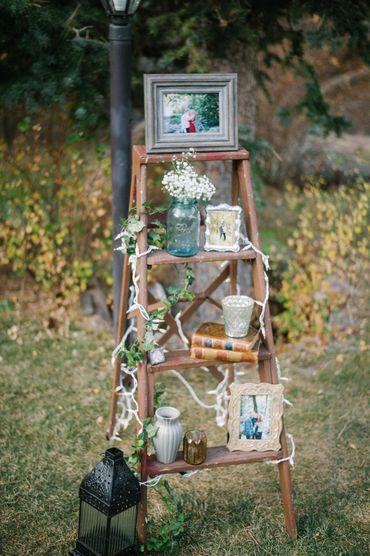 Outdoor brown wedding reception decor