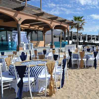 Beach white wedding reception decor
