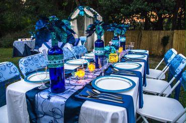 Outdoor blue wedding reception decor