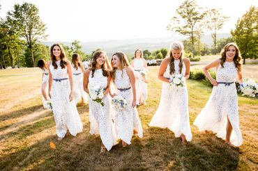 Outdoor white bridesmaids