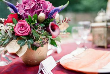 Outdoor pink wedding ceremony decor