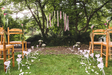 Outdoor brown wedding ceremony decor