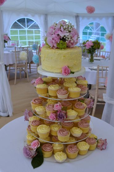 Yellow wedding cupcakes