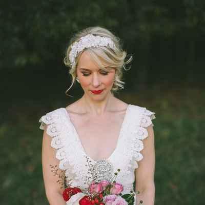 Outdoor white rose wedding bouquet