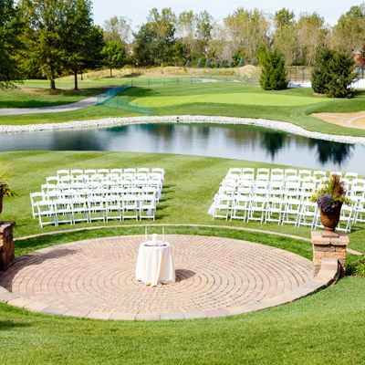 Outdoor white wedding ceremony decor