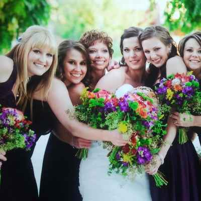 Outdoor purple bridesmaids
