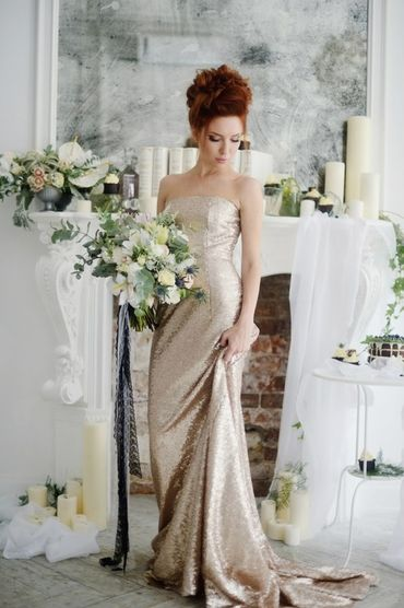 Overseas gold long wedding dresses