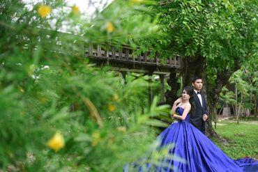Outdoor blue long wedding dresses