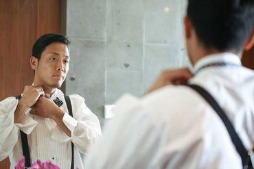 Overseas white groom style