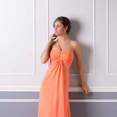 Orange long wedding dresses