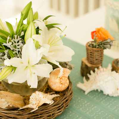 Marine white wedding floral decor