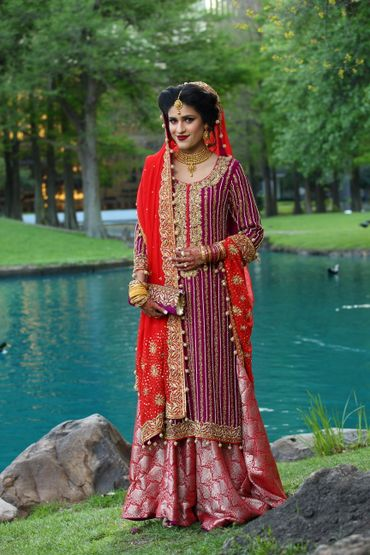 Ethnical red long wedding dresses