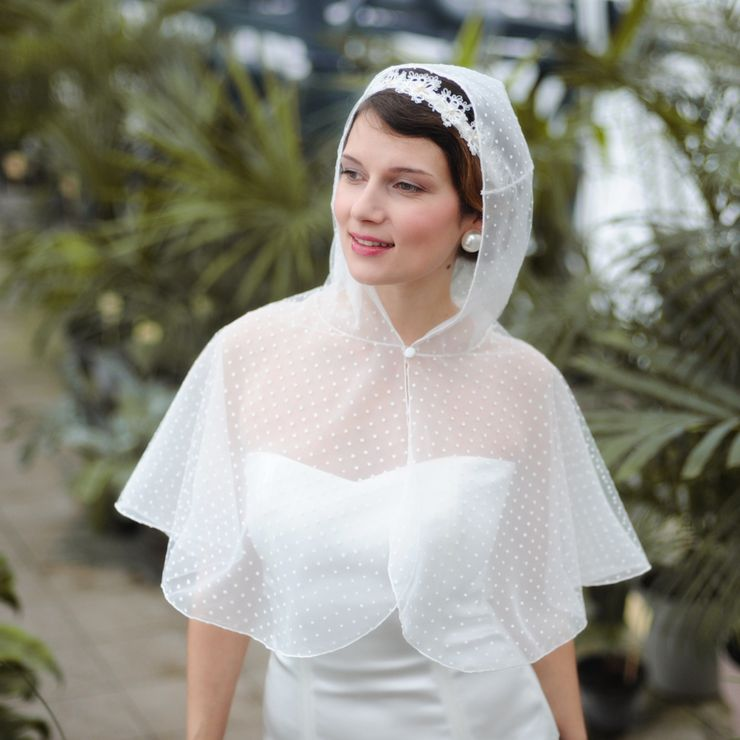 Unique polka-dot lace hooded cape