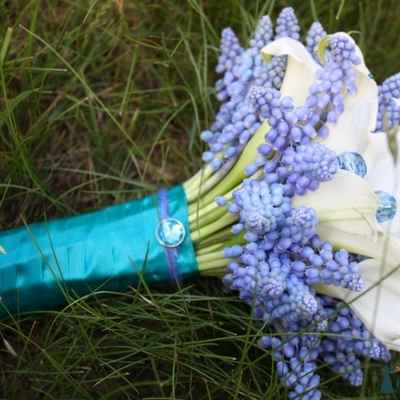 Blue calla wedding bouquet