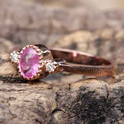 Pink wedding rings