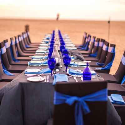 Beach ivory wedding reception decor