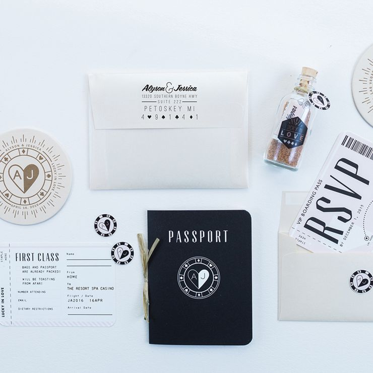 Alyson and Jessica's Passport Destination Wedding Invitation Suite