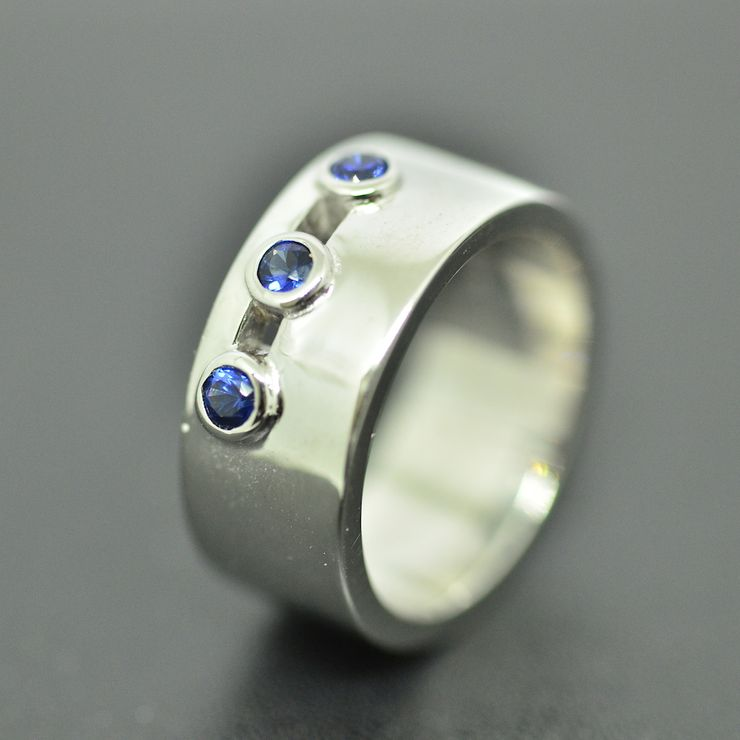 3 Blue Sapphire Engagement Ring