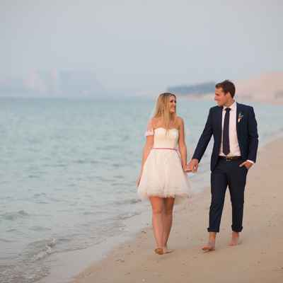 Beach ivory short wedding dresses