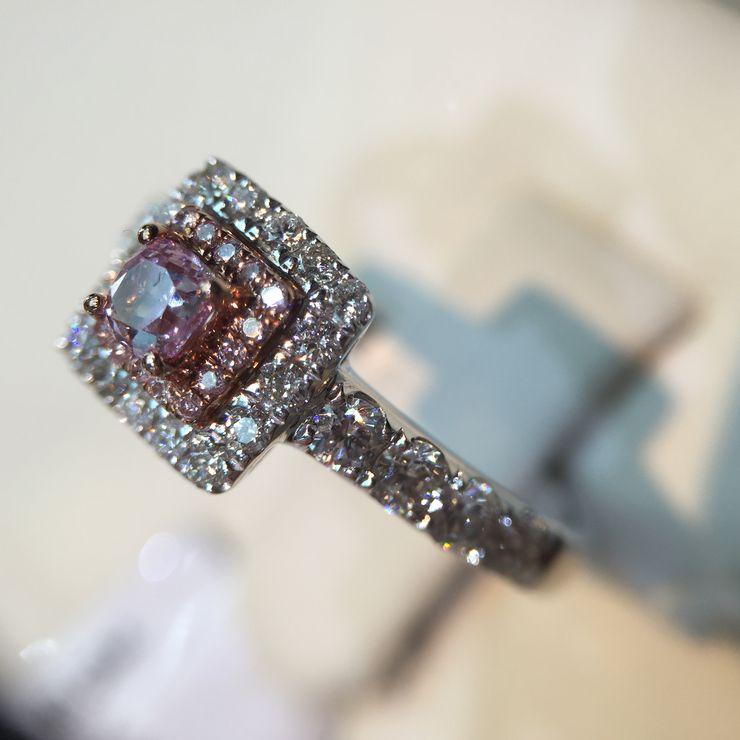 Natural pink diamond engagement rings