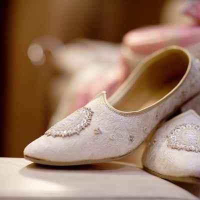 Ethnical ivory wedding shoes