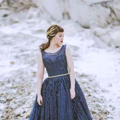Outdoor winter blue long wedding dresses