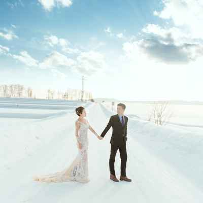 Outdoor winter ivory long wedding dresses
