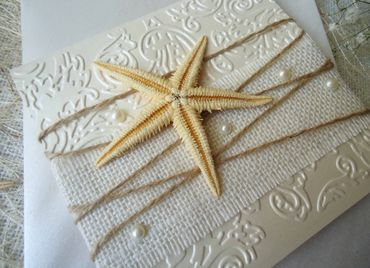 Marine ivory wedding invitations