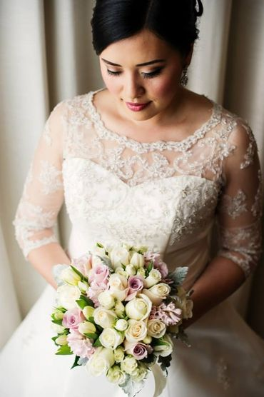 Ivory overseas rose wedding bouquet