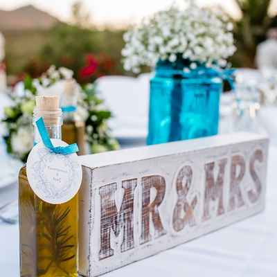White wedding signs