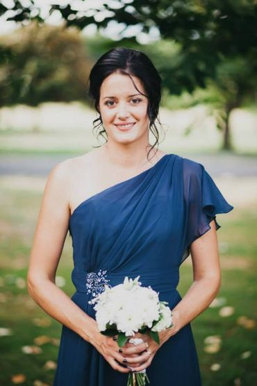 Blue outdoor bridesmaids