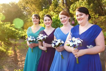 Blue outdoor bridesmaids