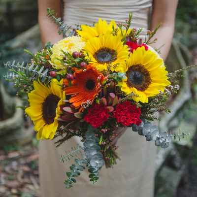 Red gerbera wedding bouquet