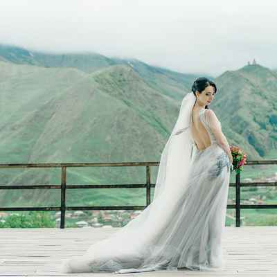 Grey outdoor long wedding dresses