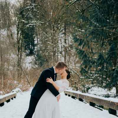 Winter white outdoor long wedding dresses