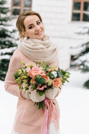 Winter pink outdoor rose wedding bouquet